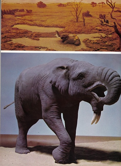 Deinotherium and tar pit scene by BM(NH)