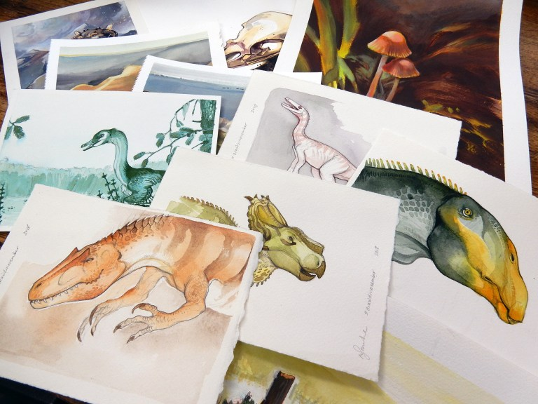 Image of a number of paleoartist Mary Sanche's work on display.