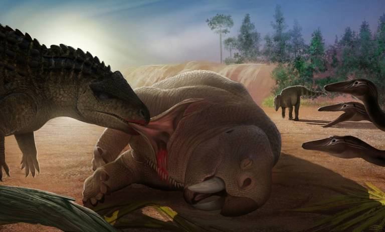 Paleoart illustration of Postosuchus eating a fallen Placerias, while three Coelophysis watch.
