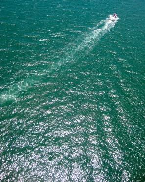 Motorboat on the ocean in Fiji.