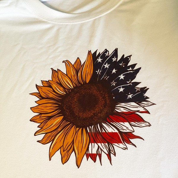 American flag and sunflower t-shirt patriotc