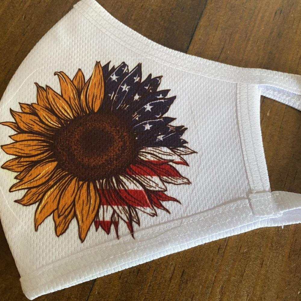 Sunflower American flag mask