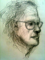 Sketch of John Wolseley at NGV Jan 2013