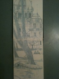 Exhibition Buildings Melbourne work up sketch