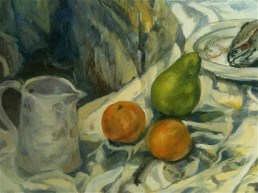 Fruit and Jug sketched in