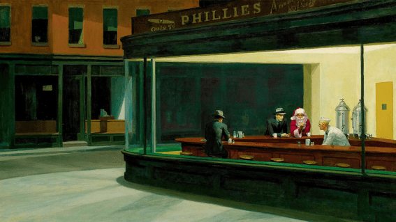 Ed Wheeler plays humorous homage to Ed Hopper's Nighthawks