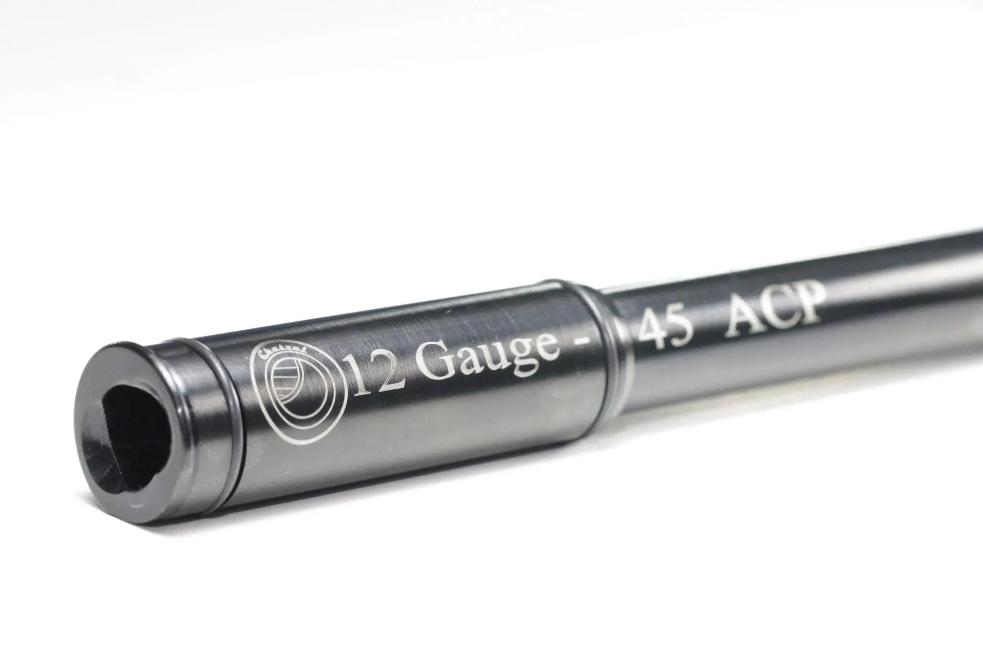 "12 Gauge to 45 ACP RIFLED Shotgun Adapter \ Chamber Reducer Black Oxide 11/"" Long"