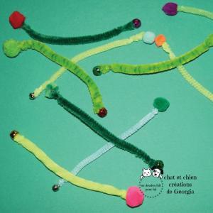 Vermi'son, jouet pour chat créé par Georgia, plusieurs tons verts proposés