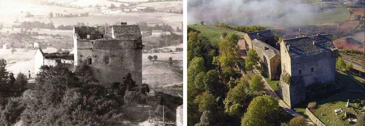 Le château en 1968 puis de nos jouurs
