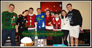 Our first annual ugly (not) Christmas Sweater Christmas Eve gathering at Ben's.