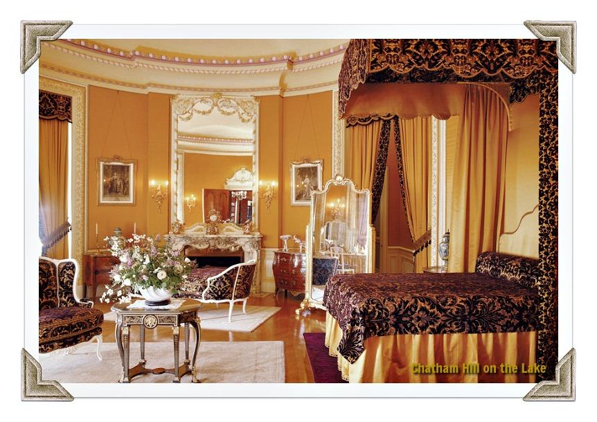 Bedding befitting royalty in Mrs. Vanderbilts Room