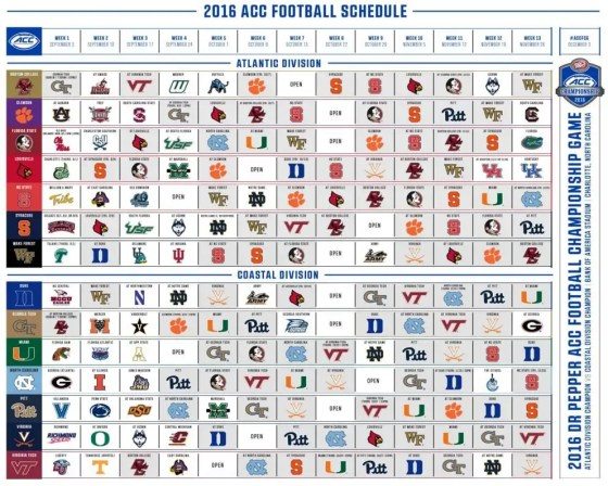 2016 ACC Football Logo Schedule