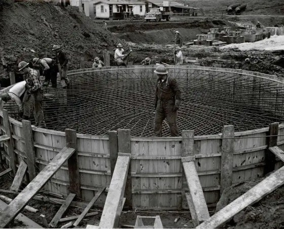 View of forms and reinforcing steel for stack foundation looking Southeast - Jan. 30, 1957