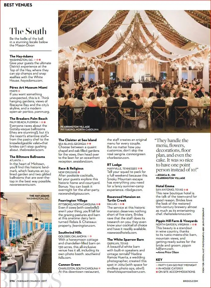 Brides Magazine Selects Fearrington Barn As One Of The 2017 Top