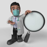 doctor graphic with magnifying glass
