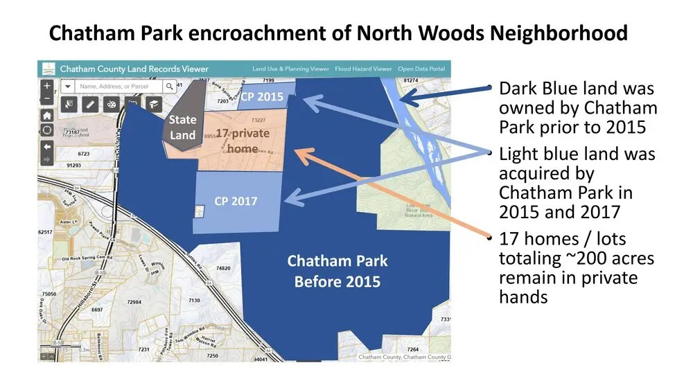 Neighbors launch campaign to save North Woods neighborhood from North Chatham Park Way