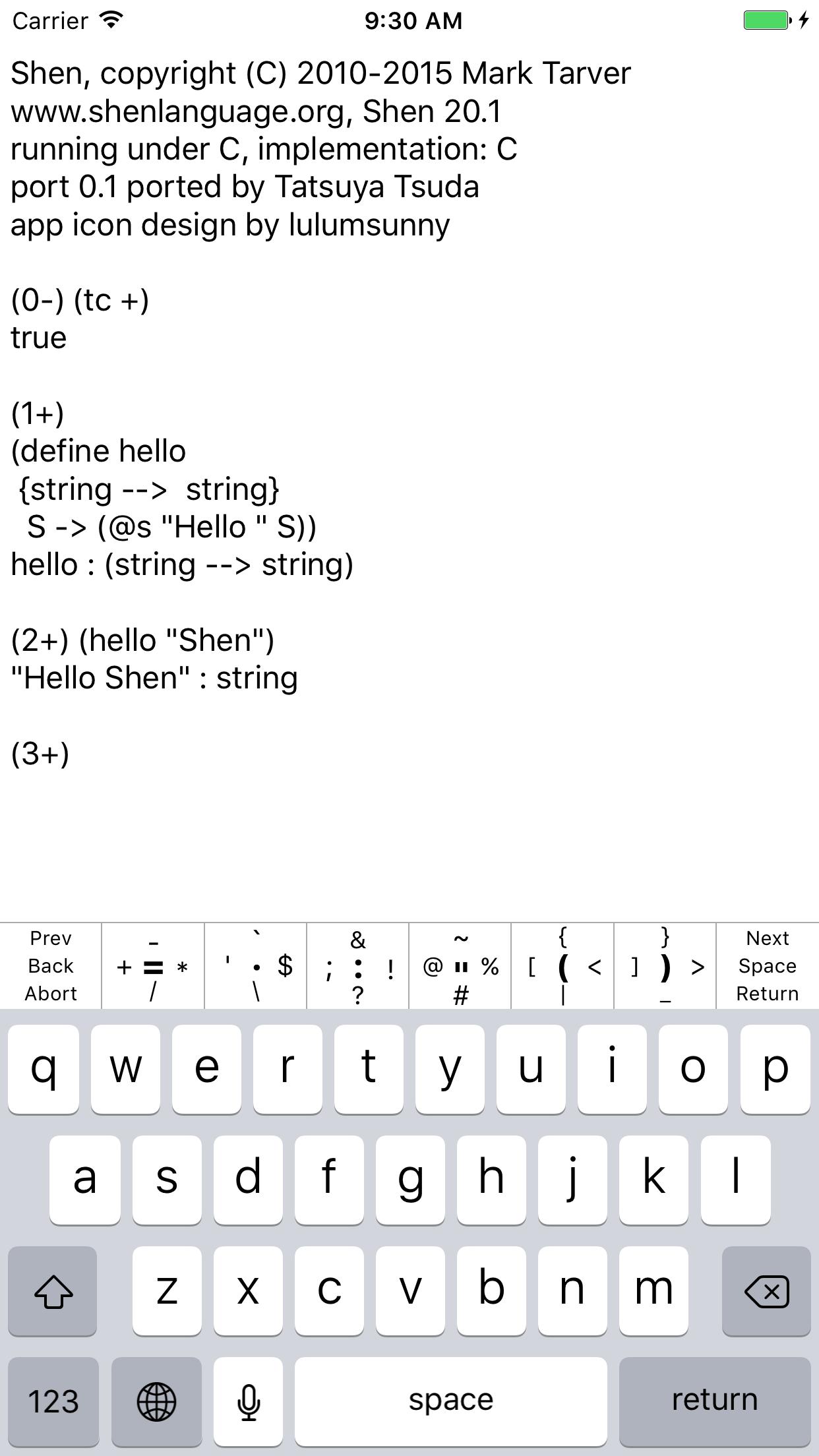 Shen Programming Language for iOS