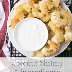 Easy coconut shrimp only requires five ingredients with no frying! It's quick, simple and incredibly crispy and delicious.   recipe from Chattavore.com