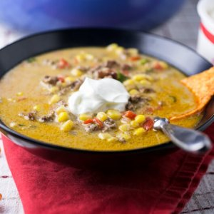 Taco corn chowder with cheese is a simple and delicious one-pot weeknight dinner. It's perfect for a cool Fall night, and it's a great Thermos lunch!   recipe from Chattavore.com