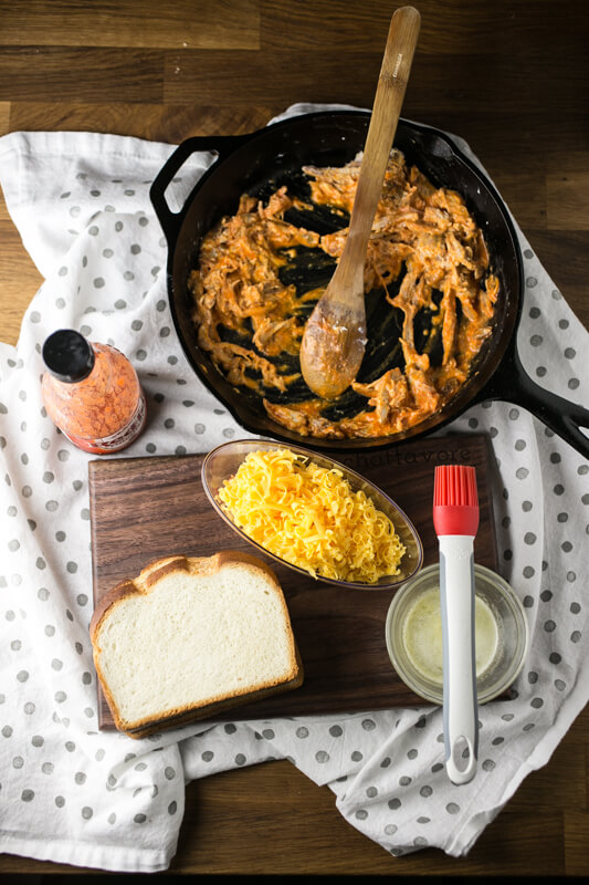 This Buffalo chicken grilled cheese is easy, delicious, and just a little bit indulgent. It's a great simple weeknight dinner!   recipe from Chattavore.com