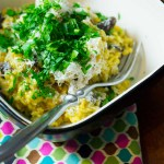 Weeknight Meals Thanks to Nigella: Mushroom Risotto and Pasta with Spinach, Feta, and Pine Nuts