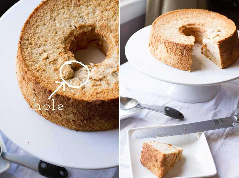 a photograph of a pumpkin angel food cake from scratch with a hole in it and a pumpkin angel food cake with a slice cut out of it