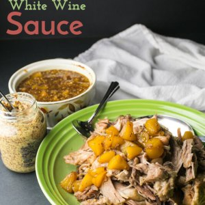 Slow cooker pork shoulder with peach white wine sauce is so easy and delicious, and it will give you tons of leftovers to make into other tasty dishes! Instant Pot pressure cooker instructions included. | Recipe from Chattavore.com