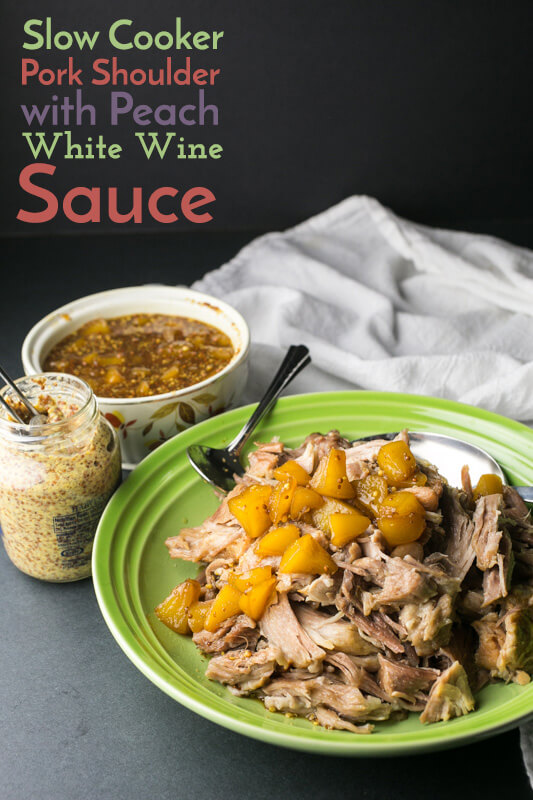 Slow cooker pork shoulder with peach white wine sauce is so easy and delicious, and it will give you tons of leftovers to make into other tasty dishes! | Recipe from Chattavore.com