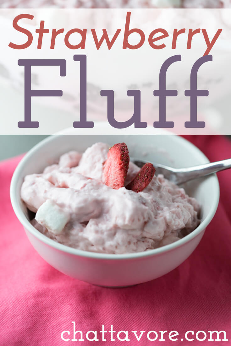 Who doesn't love strawberry fluff? This version is made with fresh strawberries, fresh whipped cream, cream cheese, and marshmallows. | Recipe from Chattavore.com