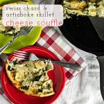 Skillet Cheese Soufflè with Swiss Chard & Artichokes