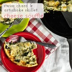 Skillet Cheese Soufflè with Swiss Chard & Artichokes