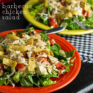 This barbecue chicken salad is a simple and delicious weeknight recipe...topped with corn chips for a perfect finishing touch! | chattavore.com