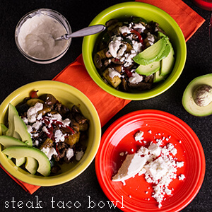 This steak taco bowl is full of vegetables and flavor but not starchy carbs! | chattavore.com