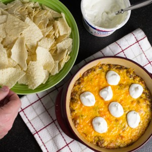 Good luck black-eyed pea dip is full of taco flavor, cheese, and creamy sour cream. It's sure to bring you luck in this New Year! | recipe from Chattavore.com