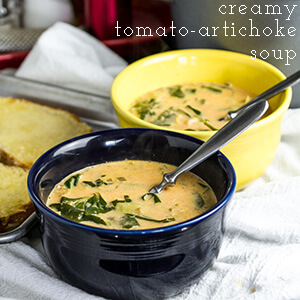 Creamy tomato artichoke soup is rich and delicious with a healthy dose of spinach...oh, and cream...and sherry. | recipe from Chattavore.com