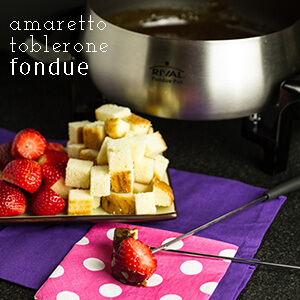 Amaretto & Toblerone fondue is pretty much chocolate heaven in a fondue pot..rich creamy, and full of almond flavor! | recipe from chattavore.com