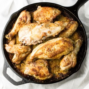 Chicken and dressing in a skillet transforms a fussy Southern dish into an easy meal you could turn out on a weeknight - with minimal clean-up! | recipe from chattavore.com