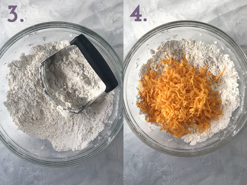 a photo collage showing butter being worked into dry garlic cheddar biscuit ingredients using a pastry blender and cheddar cheese being added to the bowl