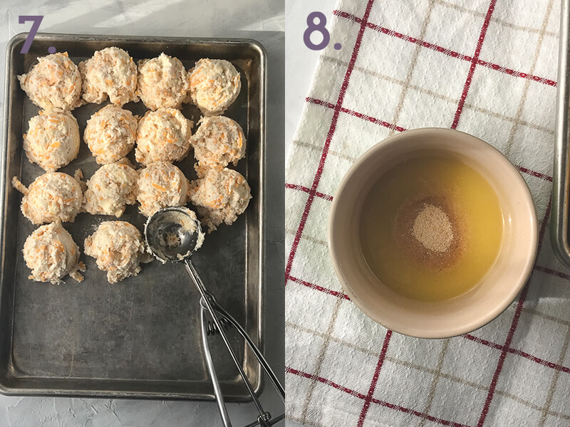 a photo collage showing garlic cheddar biscuit dough being scooped onto a baking sheet and garlic powder being stirred into melted butter