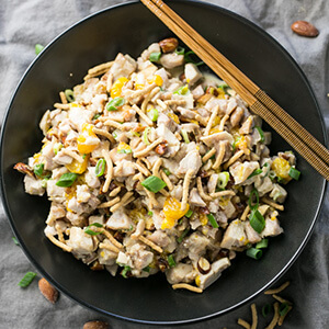 Sesame chicken salad has a sweet, creamy honey-sesame dressing, crunchy almonds, and sweet Mandarin oranges. It's a delicious way to do chicken salad!   recipe from Chattavore.com