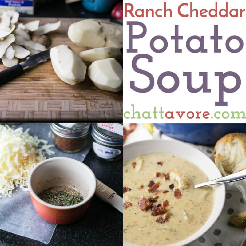 a photo collage showing various steps in the preparation of ranch cheddar potato soup and a photo of a bowl of soup with bacon on top and bread in the background
