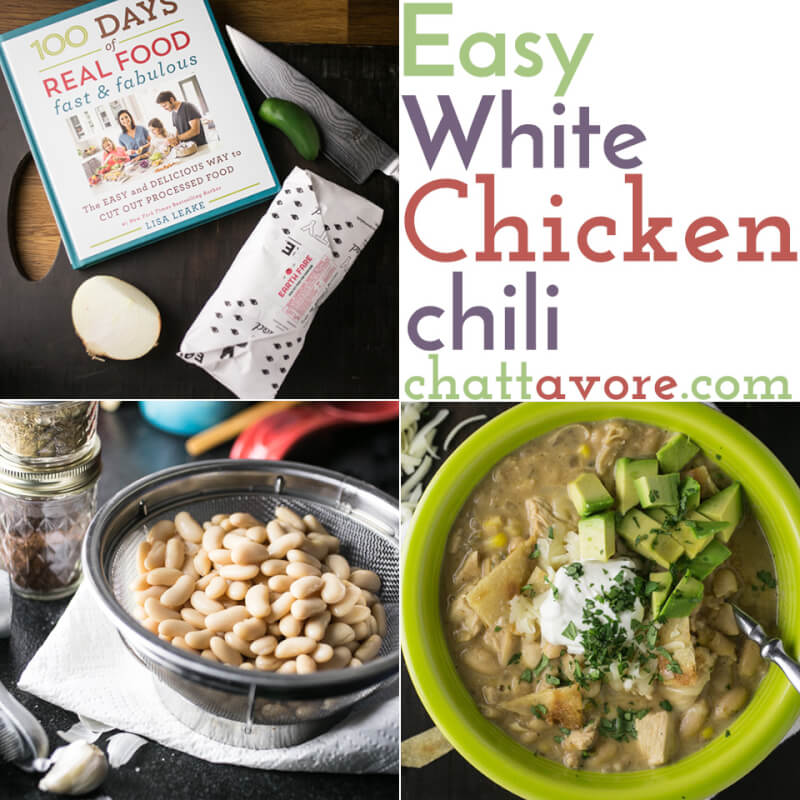 a photo collage showing a cookbook, a colander of drained cannellini beans, and a bowl of white chicken chili with avocado, sour cream, and cilantro on top