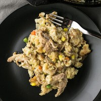 In this season of giving thanks, turkey and dressing pot pie is a great way to use up leftovers in a novel way that you might not have thought of before. | Recipe from Chattavore.com