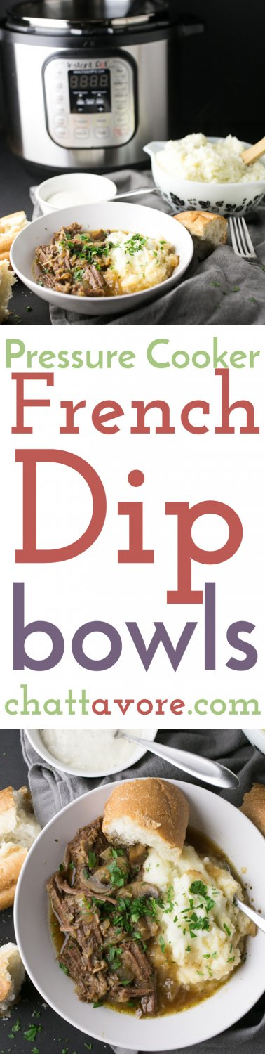 These pressure cooker French dip bowls have all the flavors the roast beef and au jus from a French dip sandwich served up in a bowl!   recipe from Chattavore.com