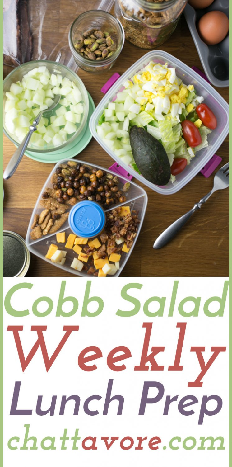 This Cobb salad meal prep tutorial will help you prep ingredients for a week's worth of delicious salads in an hour or less, including homemade dressing! | recipe from Chattavore.com