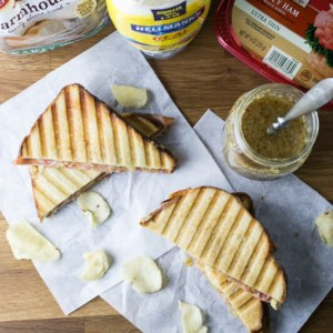 This sweet and spicy ham and cheese panini is a tasty, quick, and easy dinner that only takes five ingredients. It's great for weeknights! #SandwichWithTheBest #CollectiveBias #ad   recipe from Chattavore.com
