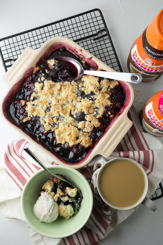 My easy cherry cobbler is super-simple...it's mixed in a single bowl, contains just a few ingredients, and you can have it in the oven in under 20 minutes! #DunkinCreamers #CollectiveBias #Ad   Recipe from Chattavore.com