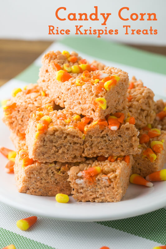 a picture of a plate of Candy Corn Rice Krispies Treats