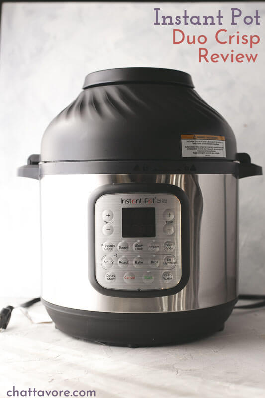 a photograph of an Instant Pot Duo Crisp with the air fryer lid