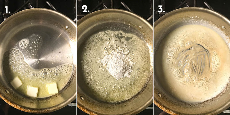 A photograph collage showing steps 1-3 of making baked creamy tortellini